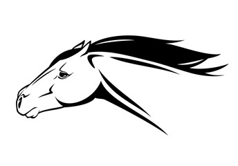 speeding horse - running mustang head black and white vector design
