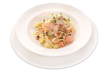 Italian pasta with seafood on a white background