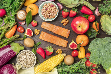Overhead photo of healthy diet ingredients. Fresh food products