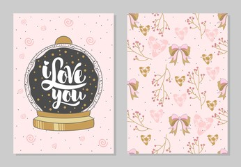 Set of romantic greeting cards on Valentine's Day. Elements and text. Vector illustration.