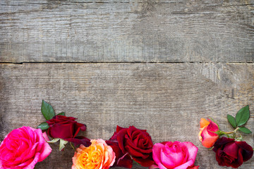 Background Valentine's Day or wedding. Colorful garden pink and red roses on a wooden background. Flat lay, top view with copy space.