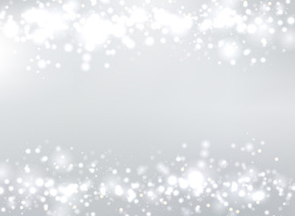 Abstract gray blurred background with bokeh and glitter header footers. Copy space.