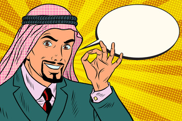 Arab businessman OK gesture, comic book bubble