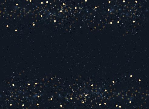 Abstract navy blue blurred background with bokeh and gold glitter header footers. Copy space.