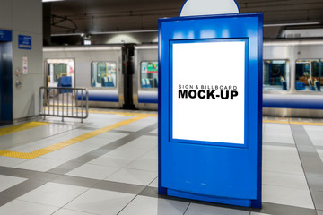 Mock up blank advertising  billboard at the train station