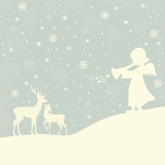 Christmas background with angel and deers