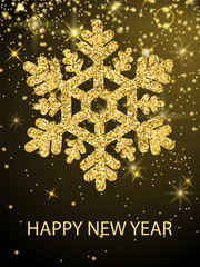 Happy New Year Congrats Banner Glitter Snowflake