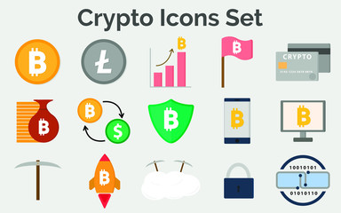 Cryprto Icons Set (15 Cryptocurrency icons)