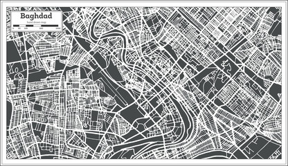 Baghdad Iraq City Map in Retro Style.