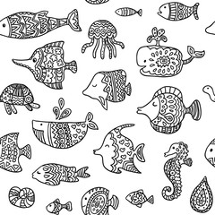 Seamless pattern with sea creatures. Can be used for textile, website background, book cover, packaging.