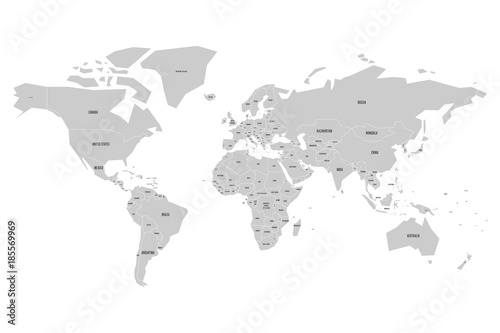 Simplified map of World in grey with country name labeling