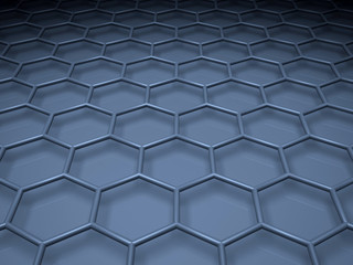 Blue hexagonal mesh structure. 3 d