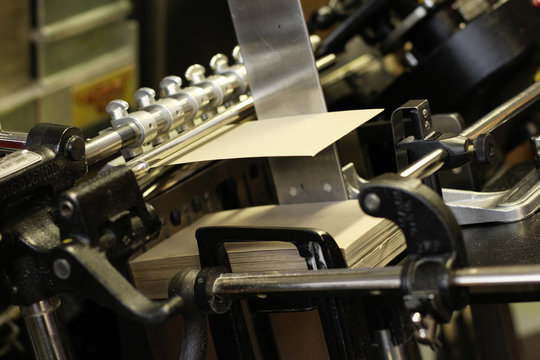 Old letterpress printing machine process