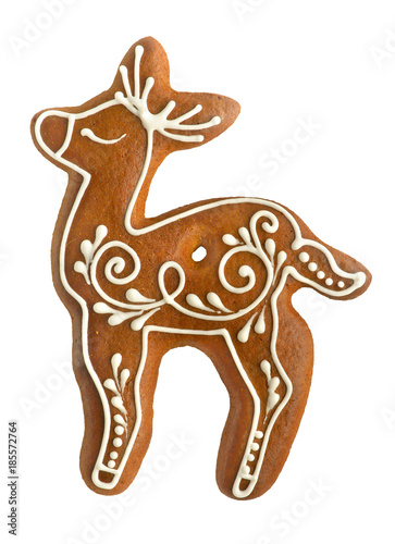 Gingerbread Reindeer On White Background Stock Photo And Royalty