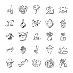 Doodle Icons Collection Of Celebration And Party
