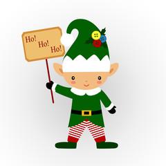 Christmas card. Christmas Elf a sign.