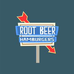 Root beer, hamburgers retro street signboard, vintage banner vector Illustration