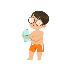 Cute little boy holding glass jar with goldfish, kid playing at the beach, happy infants outdoor activity on summer vacations vector Illustration