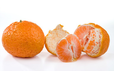 Two mandarins isolated on white.
