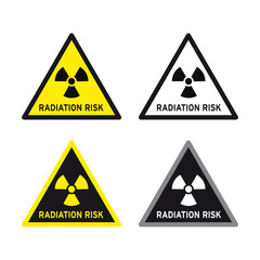 Radioactive risk nuclear sign set