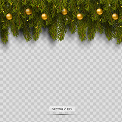 Border with Christmas tree branches and ornaments with balls and light. Isolated on transparent background.