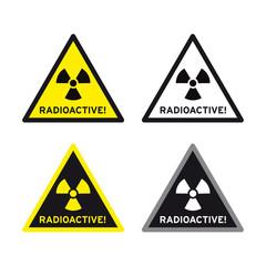 Radioactive nuclear radiation sign set
