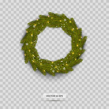 Christmas Wreath isolated. Realistic Christmas Tree Branches with snow.