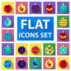 Christmas toys flat icons in set collection for design.New Year balls vector symbol stock web illustration.