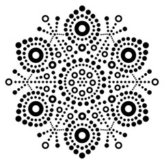 Christmas black snowflake dot art vector design, Australian folk art, Aboriginal dot painting pattern