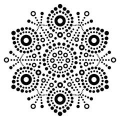 Christmas black snowflake dot art vector design, Australian folk art, Aboriginal dot painting pattern