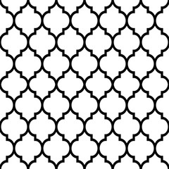 Moroccan tiles design, seamless black pattern, geometric background