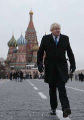 British Foreign Secretary Boris Johnson visits Red Square in Moscow