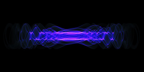 Plasma or high energy force concept. Blue-purple glowing energy waves isolated over black background.