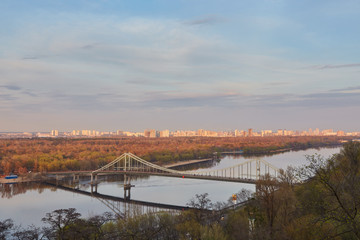 Kiev City, landscape, view of the bridge from above. Beautiful views of the Dnipro River