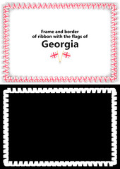 Frame and border of ribbon with the Georgia flag for diplomas, congratulations, certificates. Alpha channel. 3d illustration