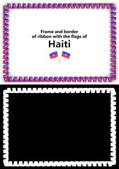 Frame and border of ribbon with the Haiti flag for diplomas, congratulations, certificates. Alpha channel. 3d illustration