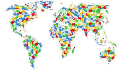 World map full of pills illustration