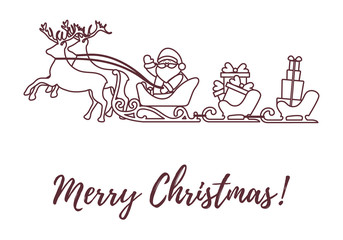 Santa Claus with Christmas presents in sleighs with reindeers. New Year and Christmas illustration.