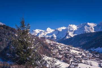 Early snow in Le Grand-Bornand French alps ski resort