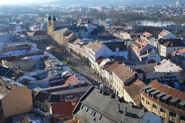 Buildings along Mierove Namestie square in the centre of Trencin, Slovakia