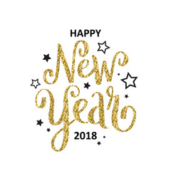 HAPPY NEW YEAR 2018 hand lettered card