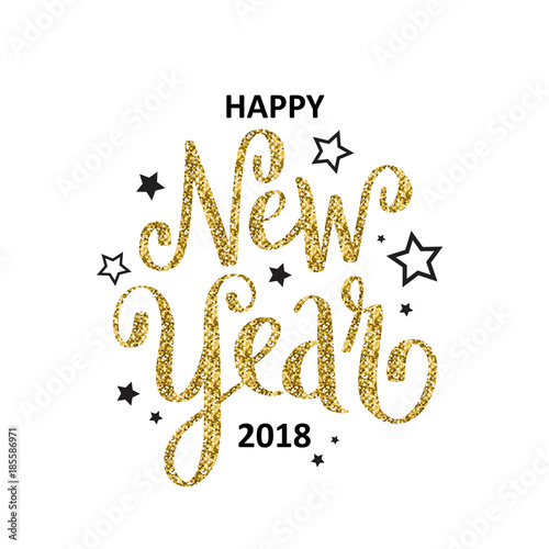 HAPPY NEW YEAR 2018 hand lettered card\