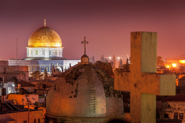Jerusalem Old City and Temple Mount at Night, Israel Fototapete