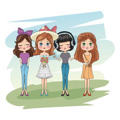 Cute girls friends cartoon icon vector illustration graphic design