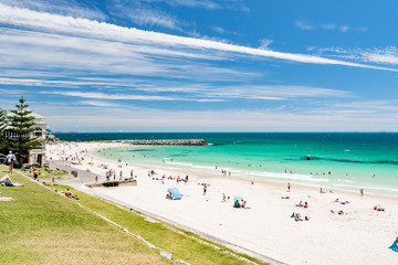 A busy Cottesloe Beach, Perth, Western Australia on a beautiful Summer afternoon. Photographed: December 22, 2017.