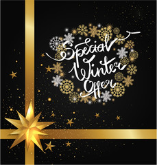 Special Winter Offer in Frame Made of Snowflakes
