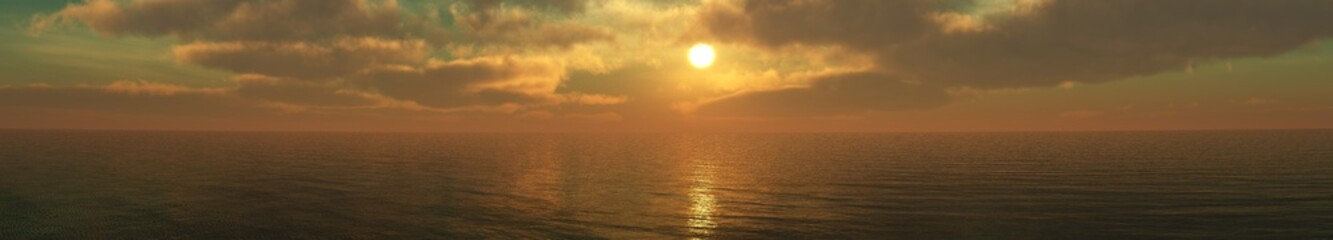 beautiful sunset. sun among the clouds over the sea.