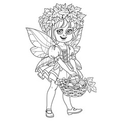 Cute girl in a fairy costume in wreath of maple leaves keeps basket with mushrooms outlined isolated on a white background