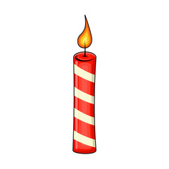 christmas candle for christmas design isolated on white background