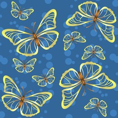 Blue background with butterflies